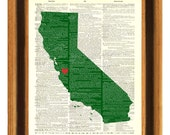 California State, Personalized State Print, hearted city, AMERICAN dictionary page, map state art, map wall art, decorative arts, 8x10 Print