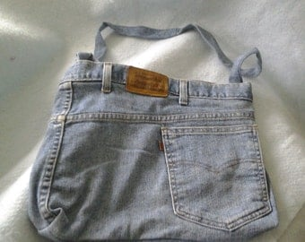 Recycled  Blue Jeans Purse with Butterfly lining