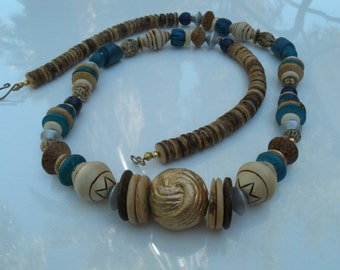 Vintage Wooden Bead Necklace with Natural Wood, Painted Teal, Purple and Gold Beads - 30 Inch Boho Chic Necklace