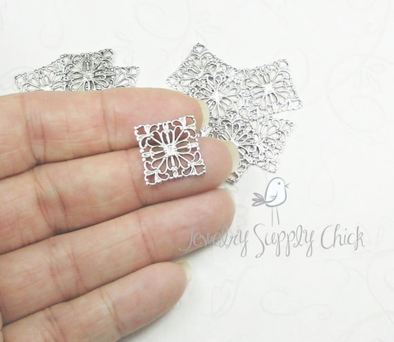 Silver Ox Square Filigree (x6)
