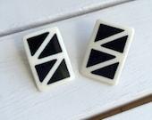 Vintage 80's Geometric Earrings / New Wave Black & White Pierced Earrings