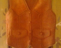 70s suede patchwork waistcoat by Montgomery Ward