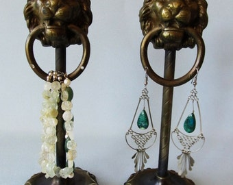 Antique English Lion's Head Retail Earring Displays.
