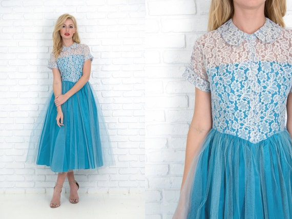 Vintage 50s Blue Cocktail Party Dress Floral Lace Tulle Midi XS 3642