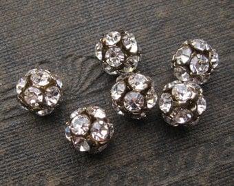 8mm Oxidized Brass Crystal Czech Preciosa Rhinestone Ball Beads (6)