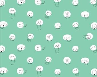 Cloud9 Organic Fabrics - Monsterz - Spotlight Mint 1/2 YD