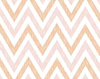 Cloud9 Organic Fabrics - Simpatico - Chevrons Peachy A 1/2 YD