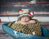 Chunky Crochet Fisherman's Hat with Diaper Cover/Suspenders and Fish 0-3 Months/Newborn Photography Prop