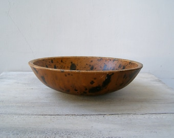African Wood Bowl, Brown Black Leopard Carved Big Bowl, Rustic Decor Floor Bowl, Display Bowl Decorative, Wooden Safari Table Centerpiece