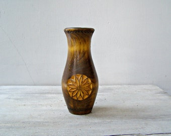 Handcarved Wooden Vase, Rustic Dried Flower Brown Small Table vase, Collectible Folk Art Woodworking Minimalist Wood Carving Flower Decor,