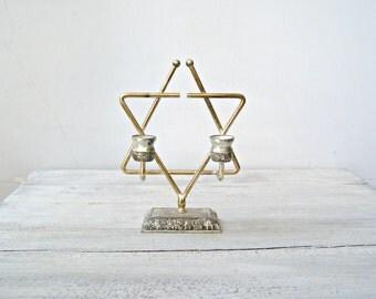 Star Of David Sabbath Candelabra, Silver Plated JERUSALEM Modernist Vintage Judaica Candlestick Holder, Israel Jewish Shabbat Candle Holders