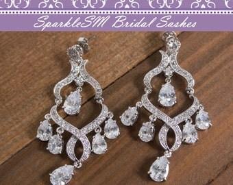 Rhinestone Bridal Earrings, Crystal Chandelier Drop Earring, Wedding Earrings, Swarovski Crystal Drop Earrings, Rhinestone, SparkleSM, Wyatt