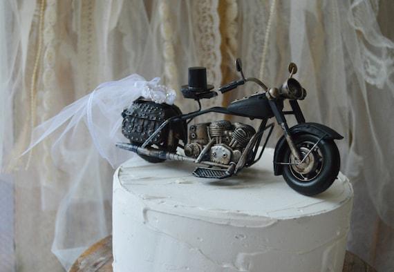 Motorcycle wedding cake topper motorcycle topper Harley