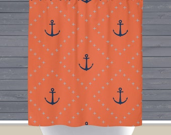 Shower Curtain: Coral Navy Anchors   Made in the USA   12 Hole Fabric Bathroom Decor