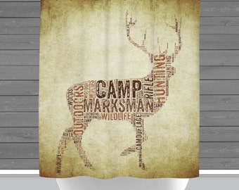 Hunting Shower Curtain: Rustic Lodge Wilderness Buck Typography   Made in the USA   12 Hole Fabric Bathroom Decor