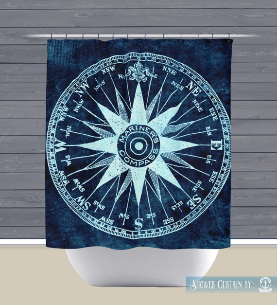 Shower curtain compass mariner nautical beach house button holes or