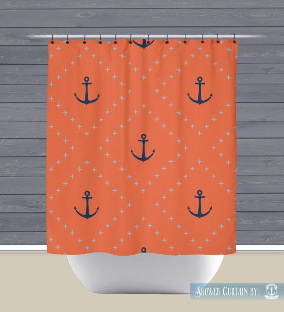 Shower Curtain Coral Navy Anchors 71x74 High Quality