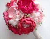 Fabric Bouquet - Large Bridal Bouquet - Shades of Pink - Heirloom Bouquet, Fabric Flower Bouquet, Fabric Bouquet, Handmade Flowers
