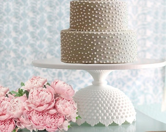 """14"""" White Cake Stand / Wedding Cake Stand / Cupcake Stand / Custom Cake Stand for Wedding Cakes / Macaron Stand Pedestal for French Macarons"""
