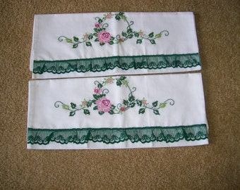 Pair of New Standard Size Embroidered Pillowcases-FREE SHIPPING