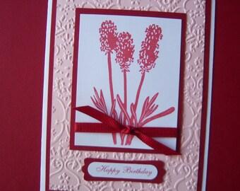 Deep Red Hyacinths Flowers Birthday Card