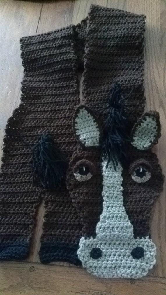 Items similar to CUSTOM Handmade Crochet Horse Scarf FREE ...