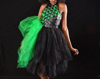 Black leather dress with green and black tulle accent created by LOLITA ALONZO