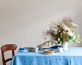 Linen Tablecloth in Sky Blue hand dyed with Natural Indigo Eco friendly