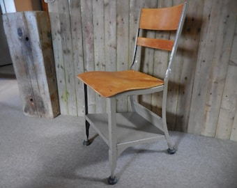 Vintage Metal and Wood School Chair with shelf