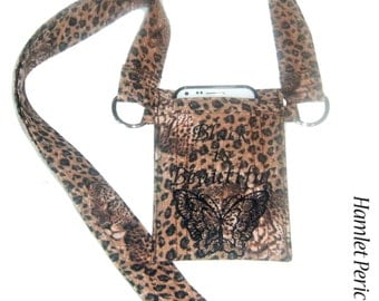 OOAK Black is Beautiful leopard print shoulder strap smartphone pouch, Iphones, Samsung Galaxy, HTC One, etc. / suitable for iPODs | P21413