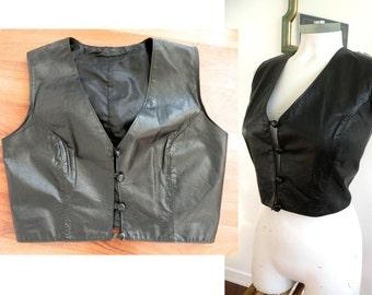 70s Black Crop Black Leather Motorcycle Vest - M