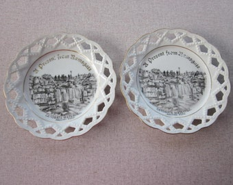 Two Antique Souvenir Plates Ramsgate Waterfall Madiera Road England Made in Bavaria Lace Edged