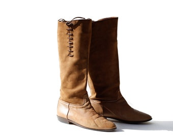 size 8 Coco Rum Tan Suede and Leather Tall boots