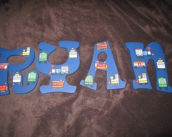 Train Inspired Hand Painted Letters ******MESSAGE BEFORE ORDERING***