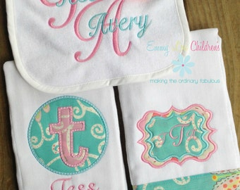Baby Gift Set - Set of Two Burp Cloths, Pacifier Clip and Bib -  Personalized Gift Set - Monogrammed Gift Set - Pink and Aqua