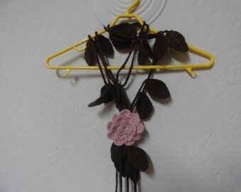 Crocheted Leaves Lariat Scarf With Removable Rose, Spring Scarf