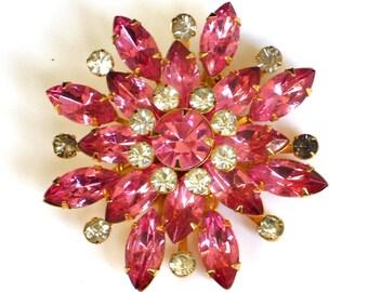 Pink Rhinestone Brooch Vintage Pin - Easter Gift
