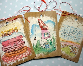 Set of three doodled gift tags-original illustrations-recycled cardboard-eco-