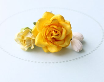 LEMON SUNSHINE . yellow flower hair pins . cottage chic paper blossoms