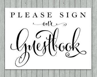items similar to sign our guestbook printable in black wedding printable guestbook on etsy. Black Bedroom Furniture Sets. Home Design Ideas