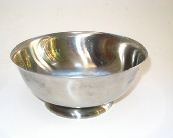 Stelton Denmark Stainless Steel Footed Serving Dip Sauce Bowl - Mid Century Modern w/Label