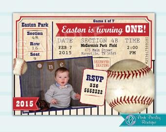Personalized Baseball Invitation, Vintage Baseball Party, Baseball DIGITAL FILE, Baseball theme, Printable baseball, baseball birthday