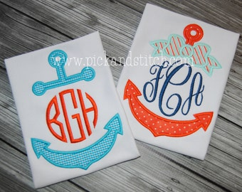 Anchor Monogram Applique - Summer Shirt - Monogram - Boy's & Girl's Summer Designs