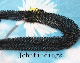 12pc 16 inch black flat cross chain necklace---very strong