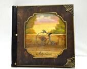 Steampunk gift, photo book, vintage keepsake, memory book, vintage bicycle, woodland painting, antique bicycle, retro bicycle
