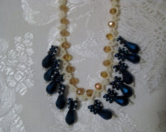 Gorgeous cobalt and gold tear drop necklace