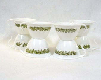 8 Hook Coffee Cups Spring Blossom Corelle Corning Ware Vintage White Green Floral Crazy Daisy Retro 1970