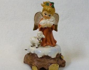 Vintage Lefton Christmas Angel with Sheep Music box Ceramic Silent Night