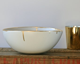 Gold accent bowl, large size, hand painted rim for salad, decor.