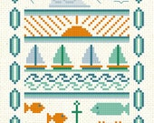 Sailboats Cross Stitch Sampler Pattern Download cute modern design fish ocean beach nautical theme